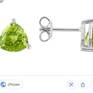 Green Peridot Silver Stud Earrings 3.75 ctw